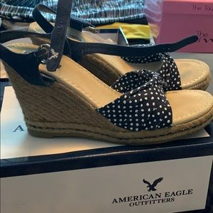 American Eagle Outfitters Shoes - American Eagle polka dot wedges
